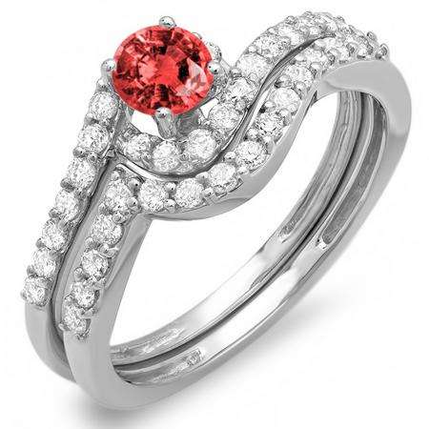 0.85 Carat (ctw) 10k White Gold Round Ruby And White Diamond Ladies Swirl Bridal Engagement Ring Matching Band Set
