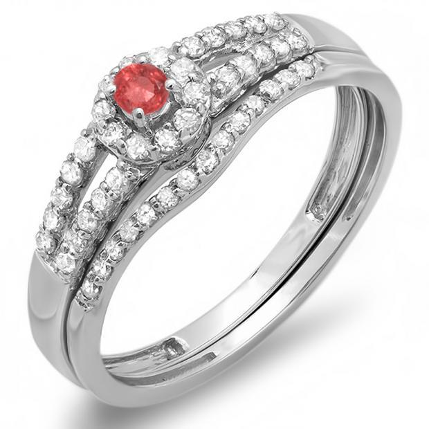 0.40 Carat (ctw) 10k White Gold Round Ruby And White Diamond Ladies Split Shank Halo Style Bridal Engagement Ring Matching Band Set