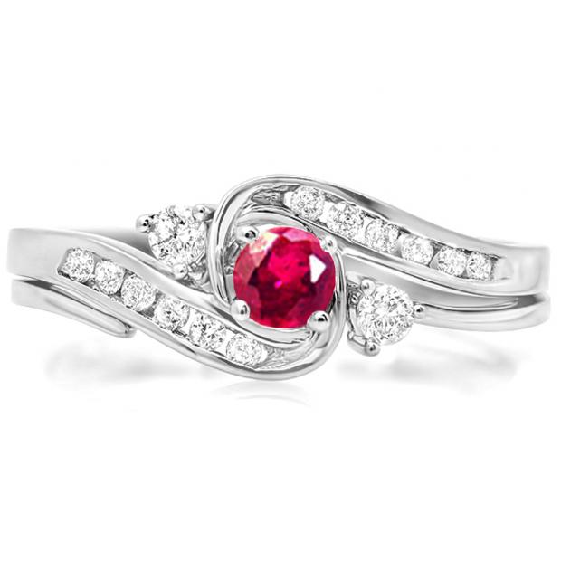 0.50 Carat (ctw) 10k White Gold Round Ruby And White Diamond Ladies Swirl Bridal Engagement Ring Matching Band Set 1/2 CT
