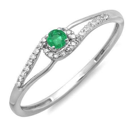 0.16 Carat (ctw) 10k White Gold Round Cut Green Emerald And White Diamond Ladies Engagement Bridal Promise Ring
