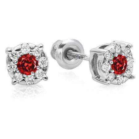 0.33 Carat (ctw) 10K White Gold Round Cut Ruby & White Diamond Round Shape Cluster Earrings 1/3 CT Look of 1 CT