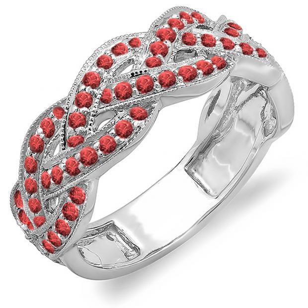 0.58 Carat (ctw) 10k White Gold Round Ruby Ladies Anniversary Wedding Matching Band Stackable Swirl Ring 1/2 CT