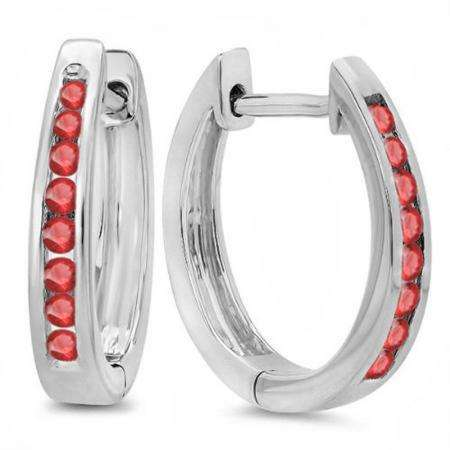 0.20 Carat (ctw) 18K White Gold Round Ruby Ladies Hoop Earrings 1/5 CT