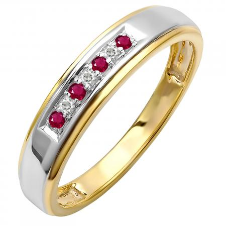 0.12 Carat (ctw) 18K Yellow Gold Plated Sterling Silver Round White Diamond And Ruby Men