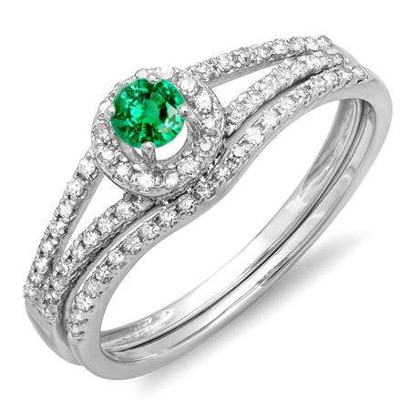 0.45 Carat (ctw) 14k White Gold Round Green Emerald And White Diamond Ladies Bridal Halo Style Engagement Ring With Wedding Band Set 1/2 CT