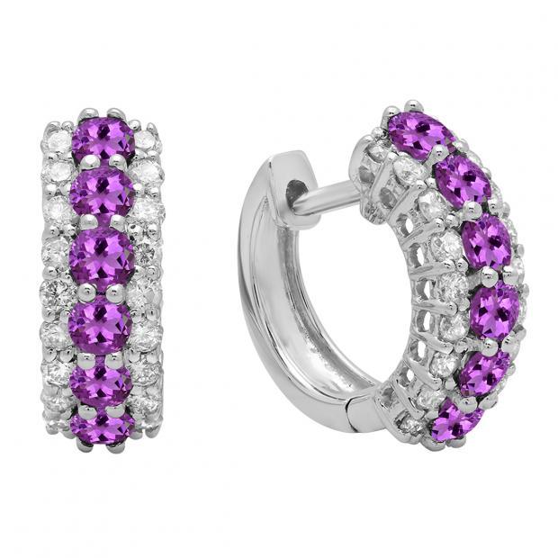 Round Amethyst & White Diamond Ladies Huggies Hoop Earrings, 14K White Gold