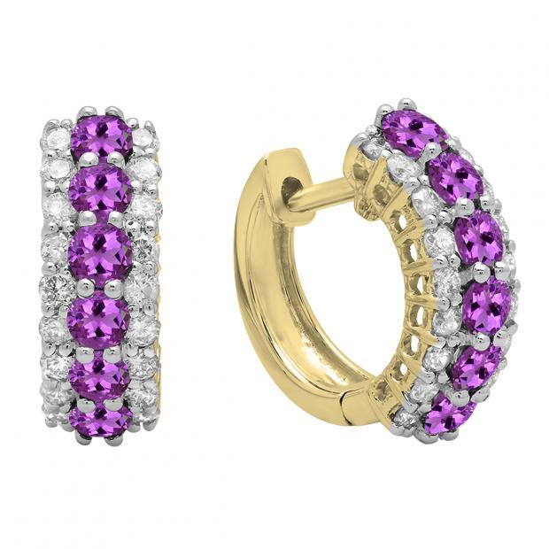 Round Amethyst & White Diamond Ladies Huggies Hoop Earrings, 14K Yellow Gold