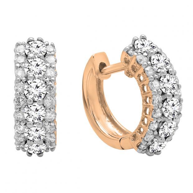 1.40 Carat (ctw) Round White Diamond Ladies Huggies Hoop Earrings, 18K Rose Gold