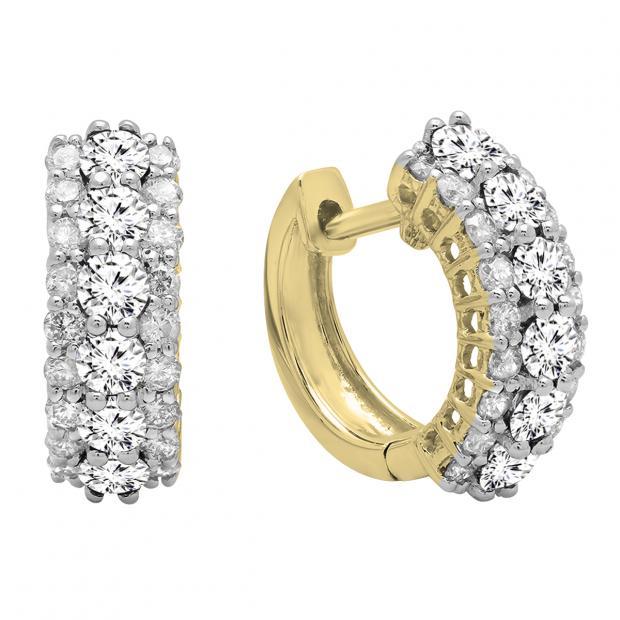 1.40 Carat (ctw) Round White Diamond Ladies Huggies Hoop Earrings, 18K Yellow Gold