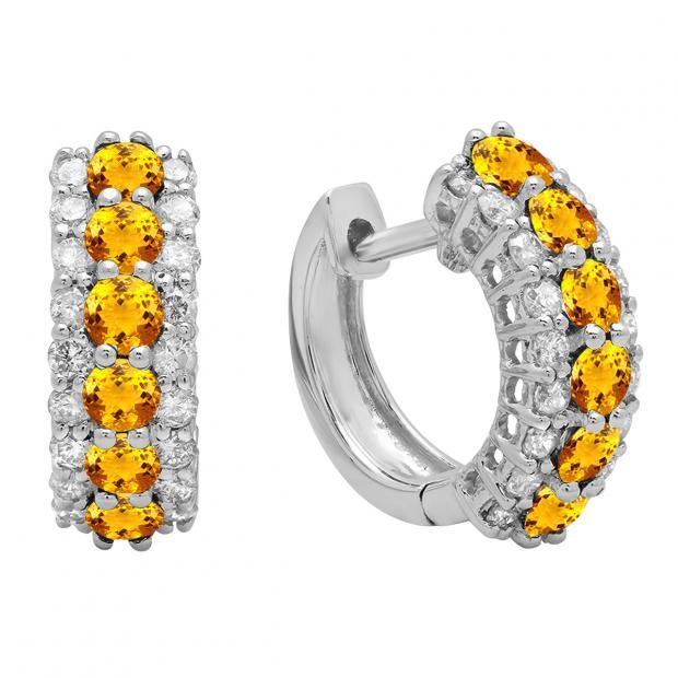 Round Citrine & White Diamond Ladies Huggies Hoop Earrings, 14K White Gold