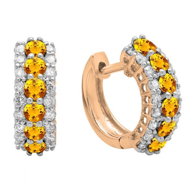 Round Citrine & White Diamond Ladies Huggies Hoop Earrings, 18K Rose Gold