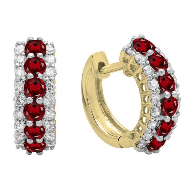 Round Garnet & White Diamond Ladies Huggies Hoop Earrings, 10K Yellow Gold