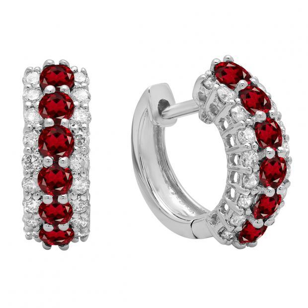 Round Garnet & White Diamond Ladies Huggies Hoop Earrings, 14K White Gold