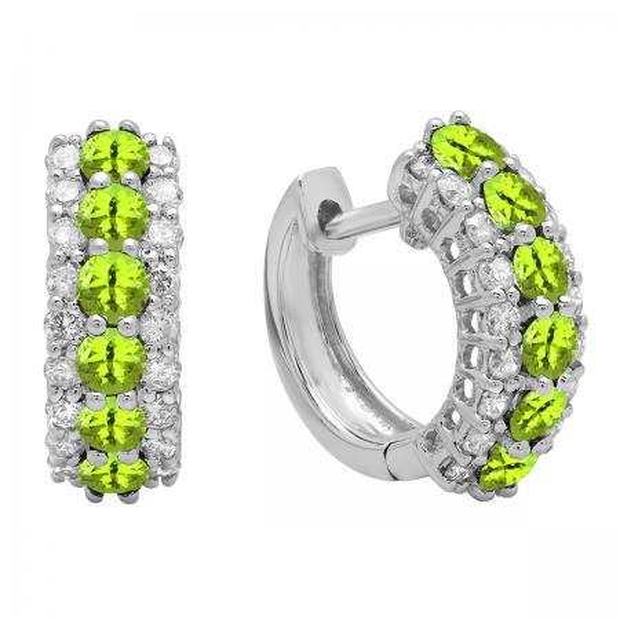 Round Peridot & White Diamond Ladies Huggies Hoop Earrings, 18K White Gold