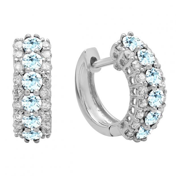Round Aquamarine & White Diamond Ladies Huggies Hoop Earrings, 14K White Gold