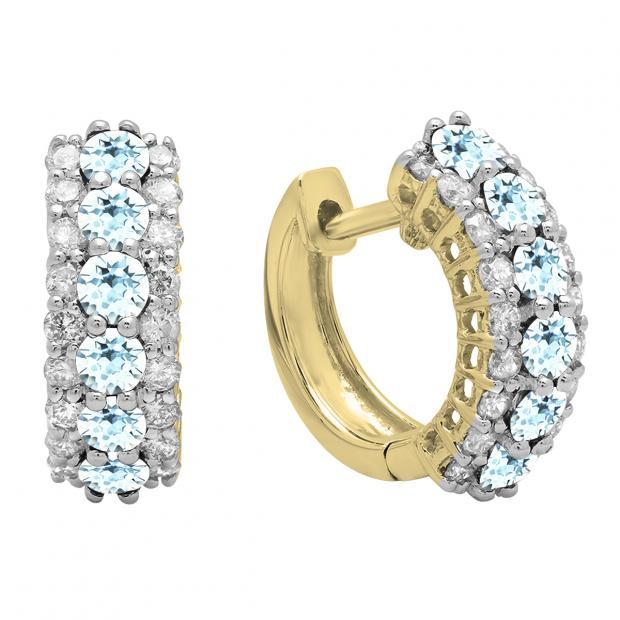 Round Aquamarine & White Diamond Ladies Huggies Hoop Earrings, 14K Yellow Gold