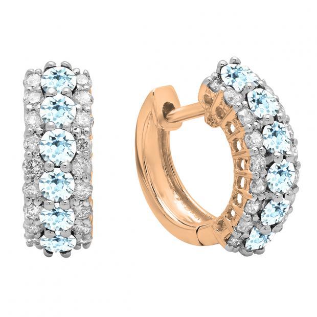 Round Aquamarine & White Diamond Ladies Huggies Hoop Earrings, 18K Rose Gold