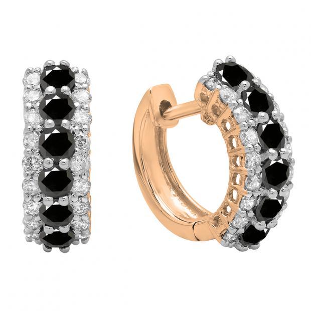 1.40 Carat (ctw) Round Black & White Diamond Ladies Huggies Hoop Earrings, 10K Rose Gold