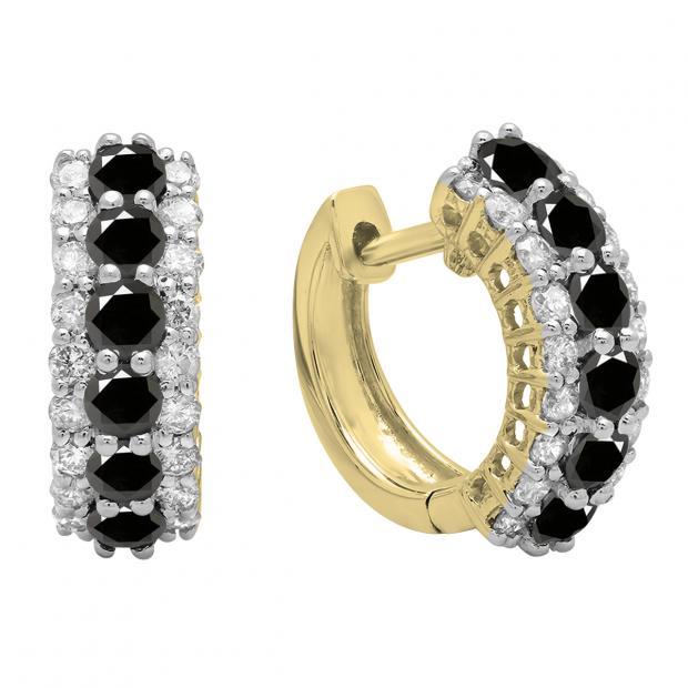 1.40 Carat (ctw) Round Black & White Diamond Ladies Huggies Hoop Earrings, 18K Yellow Gold