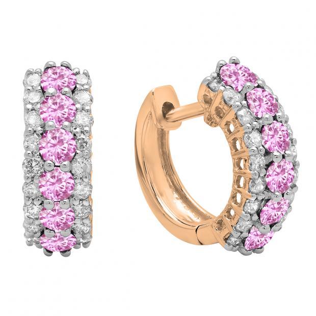 Round Pink Sapphire & White Diamond Ladies Huggies Hoop Earrings, 14K Rose Gold