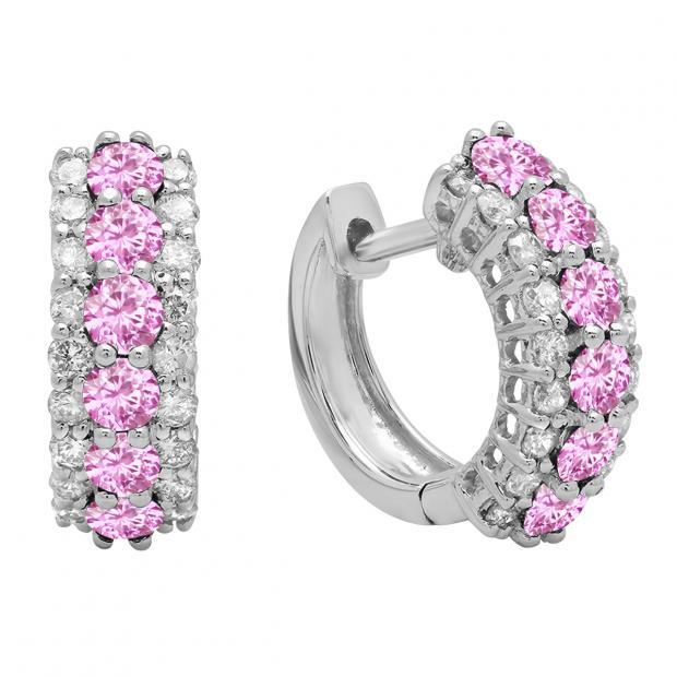Round Pink Sapphire & White Diamond Ladies Huggies Hoop Earrings, 14K White Gold