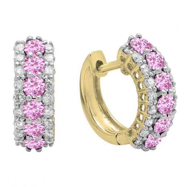Round Pink Sapphire & White Diamond Ladies Huggies Hoop Earrings, 18K Yellow Gold