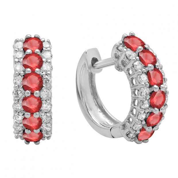 Round Ruby & White Diamond Ladies Huggies Hoop Earrings, 14K White Gold