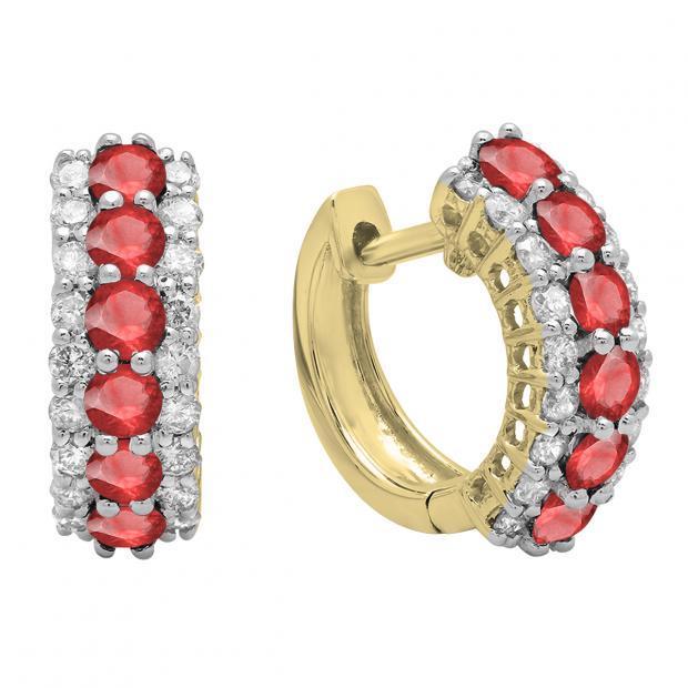 Round Ruby & White Diamond Ladies Huggies Hoop Earrings, 14K Yellow Gold