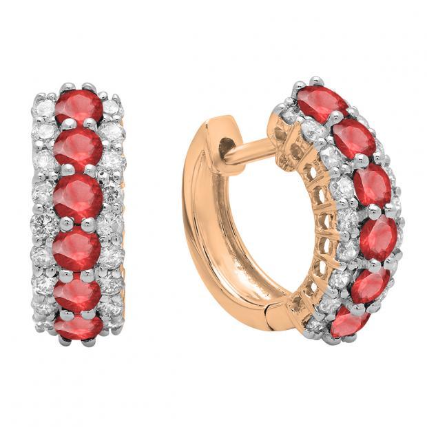 Round Ruby & White Diamond Ladies Huggies Hoop Earrings, 18K Rose Gold