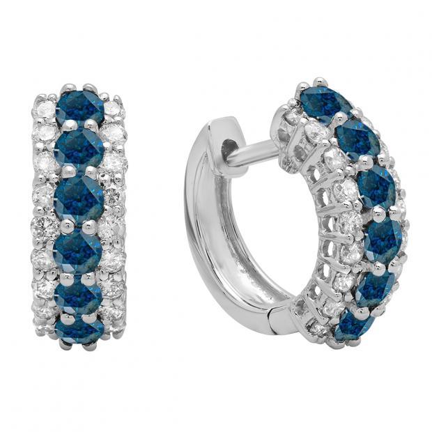 1.40 Carat (ctw) Round Blue & White Diamond Ladies Huggies Hoop Earrings, 10K White Gold