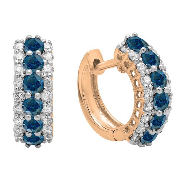 1.40 Carat (ctw) Round Blue & White Diamond Ladies Huggies Hoop Earrings, 14K Rose Gold