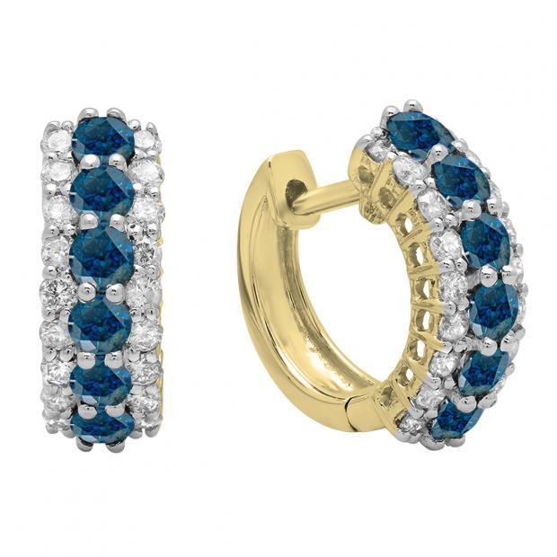 1.40 Carat (ctw) Round Blue & White Diamond Ladies Huggies Hoop Earrings, 18K Yellow Gold