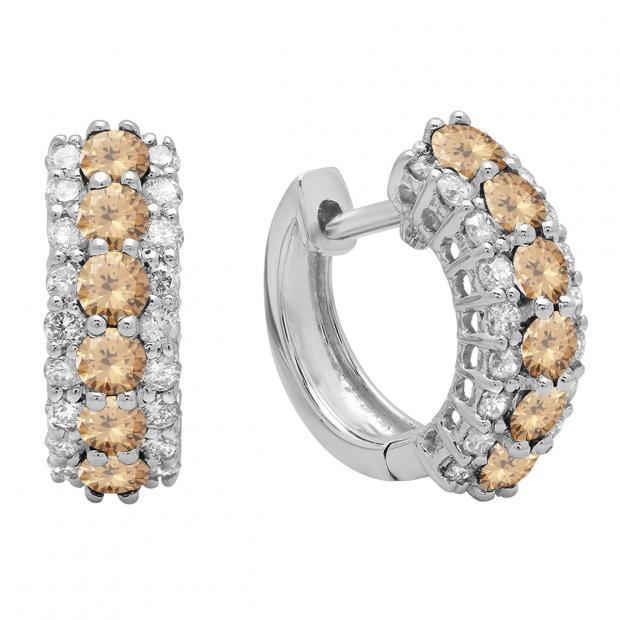 1.40 Carat (ctw) Round Champagne & White Diamond Ladies Huggies Hoop Earrings, 14K White Gold