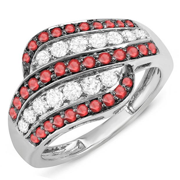 1.05 Carat (ctw) 18k White Gold Round Ruby & White Diamond Ladies Cocktail Right Hand Ring 1 CT