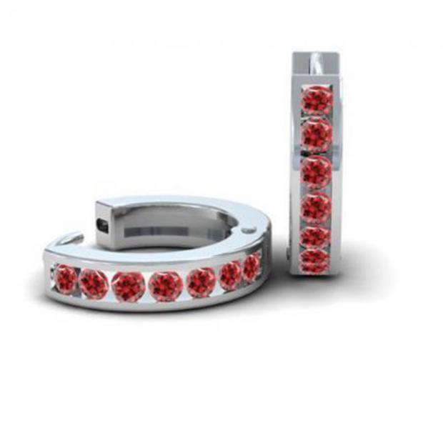 0.36 Carat (ctw) 10k White Gold Round Ruby Ladies Huggie Hoop Earrings 1/3 CT