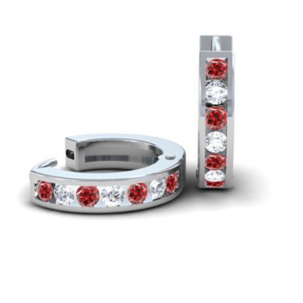 0.36 Carat (ctw) 14k White Gold Round White Diamond & Ruby Ladies Huggie Hoop Earrings 1/3 CT