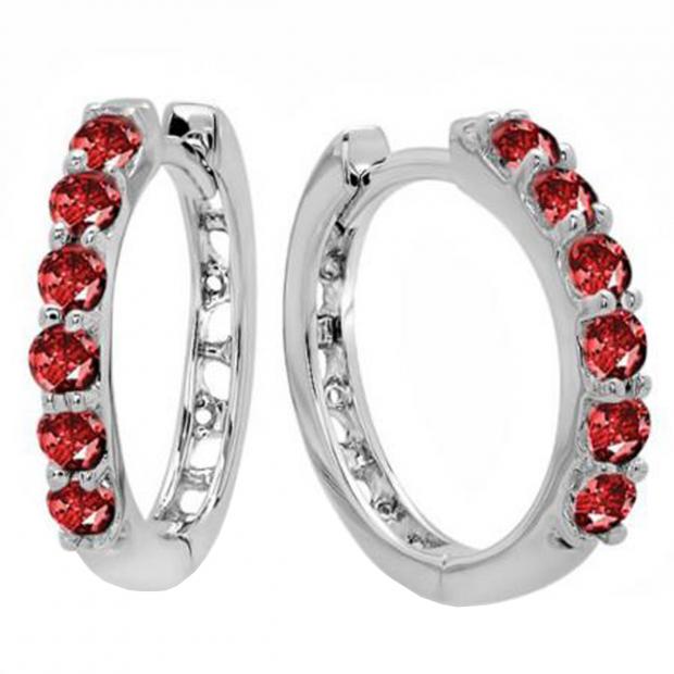0.50 Carat (ctw) 10k White Gold Round Ruby Ladies Huggies Hoop Earrings 1/2 CT