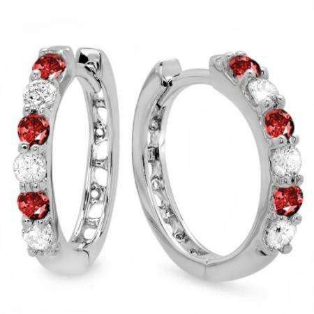 0.33 Carat (ctw) 10k White Gold Round Ruby & White Diamond Ladies Huggies Hoop Earrings 1/3 CT