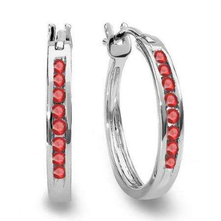 0.20 Carat (ctw) 14K White Gold Round Ruby Ladies Fine Hoop Earrings 1/5 CT