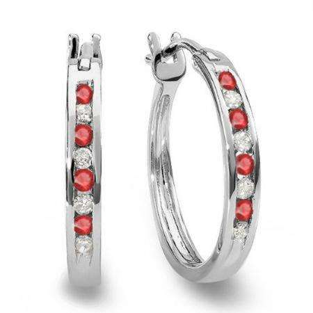 0.20 Carat (ctw) 14K White Gold Round White Diamond & Ruby Ladies Fine Hoop Earrings 1/5 CT