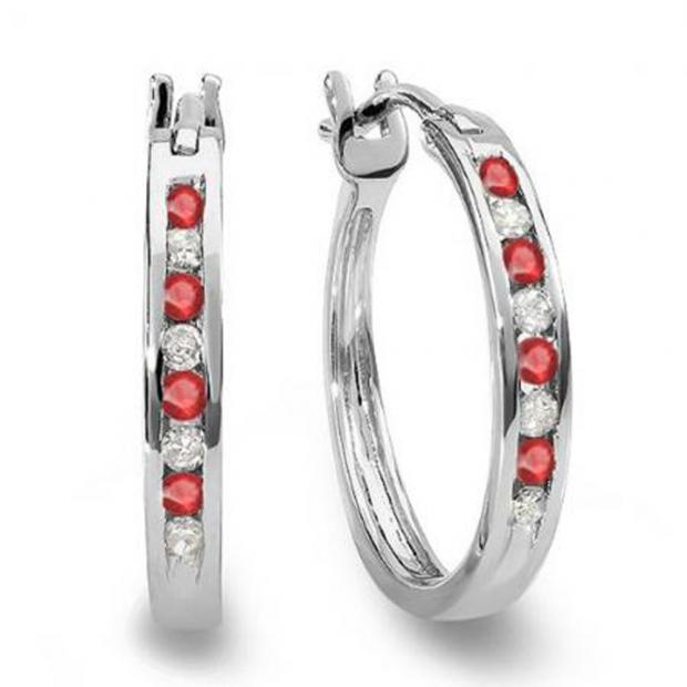 0.20 Carat (ctw) 18K White Gold Round White Diamond & Ruby Ladies Fine Hoop Earrings 1/5 CT
