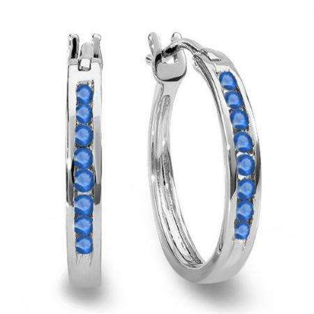 0.20 Carat (ctw) 10K White Gold Round Blue Sapphire Ladies Fine Hoop Earrings 1/5 CT