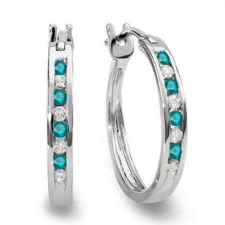0.20 Carat (ctw) 10K White Gold Round White And Blue Diamond Ladies Fine Hoop Earrings 1/5 CT