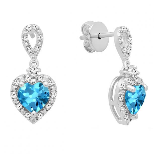 6 mm Each Heart Blue Topaz & Round White Diamond Ladies Drop Dangle Earrings, Sterling Silver