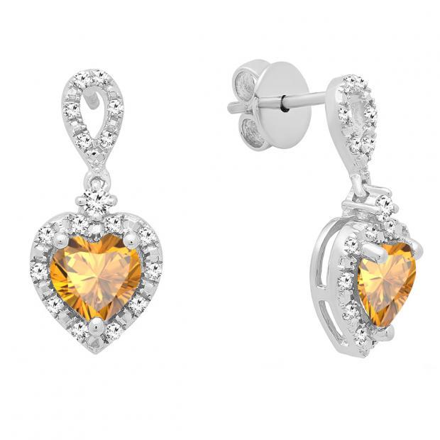 6 mm Each Heart Citrine & Round White Diamond Ladies Drop Dangle Earrings, Sterling Silver