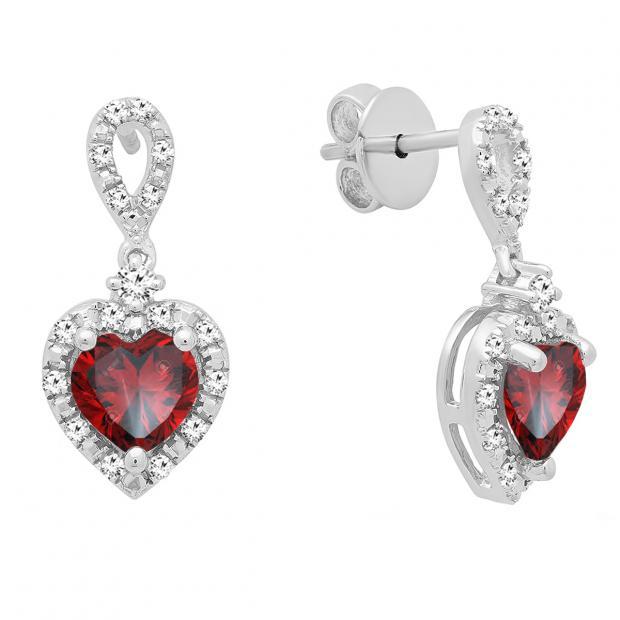 6 mm Each Heart Garnet & Round White Diamond Ladies Drop Dangle Earrings, Sterling Silver