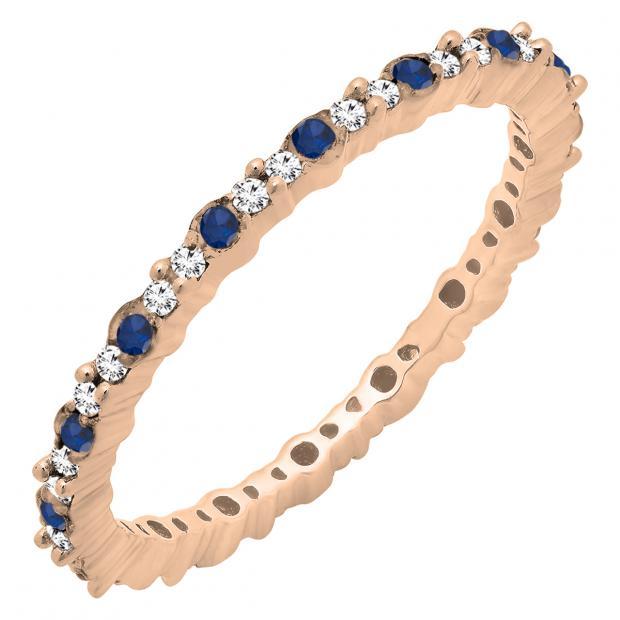 0.35 Carat (ctw) 14K Rose Gold Round Blue Sapphire & White Diamond Ladies Eternity Wedding Band