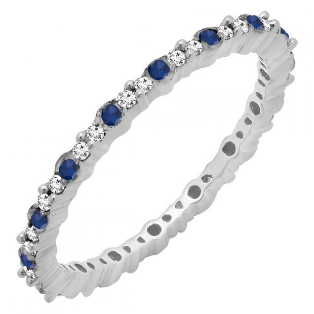 0.35 Carat (ctw) 14K White Gold Round Blue Sapphire & White Diamond Ladies Eternity Wedding Band