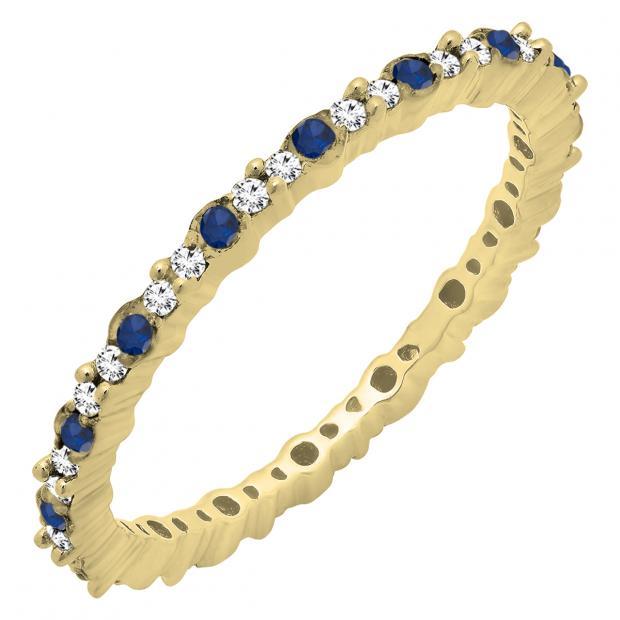 0.35 Carat (ctw) 18K Yellow Gold Round Blue Sapphire & White Diamond Ladies Eternity Wedding Band