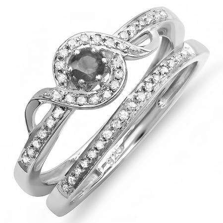 0.25 Carat (ctw) Sterling Silver Round White And Black Diamond Ladies Bridal Promise Ring Set Matching Band 1/4 CT